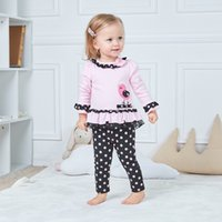 Wholesale tow pieces - Baby Clothes 9M -2T tow piece clothes + pants applique birds O neck with flower European and American Style