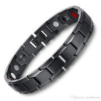 Wholesale men titanium magnetic bracelet for sale - High Quality Titanium Steel Bracelets Men Bangle Magnetic Radiation Fatigue Bracelet Cuff Wristband Fashion Jewelry Unisex Xmas Gift B804SF