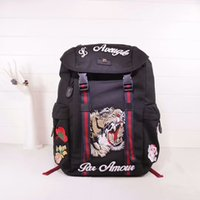 Wholesale Male School Bags - 2018 fashion hot sale male female men luxury travel Embroidery canvas with genuine leather backpack shoulder bag student school bag