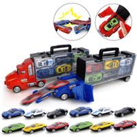 autos rennen gesetzt großhandel-Transport Carrier Truck Set mit 12 bunten Mini Mental Druckguss Cars Innovative Racing Game Karte Autotransporter Spielzeug CCA10412 10ST