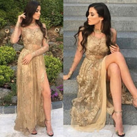 Wholesale crow art resale online - Sexy Sheer Illusion Long Sleeves Prom Dresses Arabic Crew Neck Gold Appliqued Long Party Gowns Split Evening Dresses Plus Size BA9360