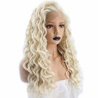 perruque synthétique avec dentelle crépue achat en gros de-Crépus bouclés platine blonde dentelle front perruque cheveux synthétiques longue spirale boucles naturelles délié talon synthétique perruques pour les femmes blanches