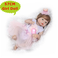 Wholesale beautiful baby toys - 22inch NPK Full Silicone Body Bebe Reborn Girl Doll Real Alive Princess Baby Toy In Beautiful Dressing Cute Gift Kids Play Toys