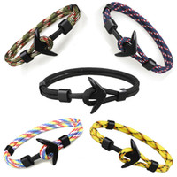 Wholesale Pirate Rope - Viking Jewelry Mens Black Alloy Pirate Nautical Navy Anchor Bracelets Rope Woven Bracelet for Women Men Friendship Bracelets