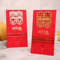 Discount chinese red envelope wholesale - 6pc lot Traditional Chinese Red Packet for Wedding Red Packet Wedding Celebration bronzing Envelope Packets 22.5x12.5cm