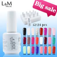 top marcas de uñas de gel al por mayor-12 o 24 piezas IDO Gelpolish 15ml Envío gratuito Soak Off Led Uv Nail Gel Polish Set (10colors + Base + Top) Art Gel Nails Marcas