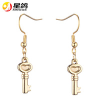 Wholesale wholesale indian earings - silver gold color Key Drop Earrings European Style Jewellery stainless steel Key Earings Cute Romantic Gift for Women Office Ladies