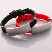 Wholesale 20PCS Set Mens and Womens Fancy Stainless Steel Tag Bracelet Adjustable Handmade Gift Silicone Bracelets