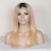 en güzel sarışın saç toptan satış-9A En İyi Kalite T1b / 613 Iki Ton Hafif Sarışın Ombre Brezilyalı İnsan Saç Dantel Ön Peruk Ağartılmış Knots ile Bebek Saç
