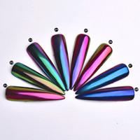 Wholesale optical chameleon mirror mirror magic color and variable flash nail glitter nail