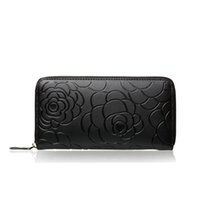 Wholesale Floral Design Photos - 2018 New Women's Genuine Leather Long Wallet Luxury Fashion Design Flowers Single Zipper Clutch Coin Purse card holder and phone bag