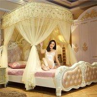 mosquiteiro de três portas venda por atacado-Canopy Bed {Byetee} Lace Três Porta com aço inoxidável de luxo Mosquito Net Tenda Cama de Quarto camas de dossel Netting