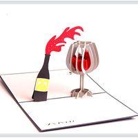 3d doğum günü kartı ücretsiz toptan satış-Yeni 3D Pop Up Kırmızı Şarap Tebrik Kartları Sevgililer Noel Doğum Günü Davetiye Hediye Kartı Ücretsiz kargo