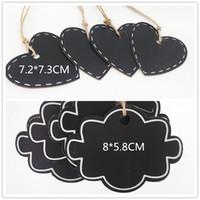 holz hängen tags großhandel-Wolke Herzförmige hängende hölzerne Tafel Tafel Wordpad Message Board Mini Holz Geschenk Tag mit String Party Supplies