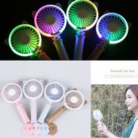 Wholesale night light electric - 4 Colors USB Handheld Twist Cat Fan Electric Power Desktop Colorful Night Light Fan Mini Air Cooler AAA242