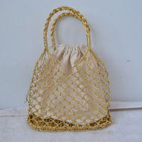 ingrosso corda luminosa-Oro, argento 2 corde di carta brillante colorate borsa di tessuto cava fodera di cotone borsa di paglia femminile reticolato borsa spiaggia compensata
