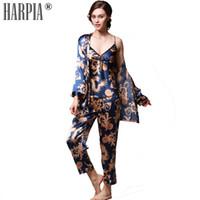 seide plus größe nachthemd großhandel-3 Stücke Sets Pyjamas Frauen Pyjama Silk Sexy Lady Nachtwäsche Weibliche Pyjamas Sexy Nachthemd Dessous Plus Größe xxxl Pyjama Femme