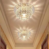 spot ışık odası toptan satış-Kristal Koridor Lamba Spot LED Tavan Işık Oturma Odası Koridor Giriş Aşağı Lamba Yaratıcı Paslanmaz Çelik Ayna Baz Tavan Lambası