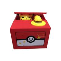 ingrosso banche di plastica per i bambini-Nuova scatola di soldi di plastica elettronica di Pikachu rubare moneta salvadanaio denaro scatola sicura per il giocattolo scrivania regalo per bambini.