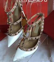 ingrosso scarpe da sposa formato 43-2018 donne di marca pompe scarpe da sposa donna tacchi alti sandalo nudo moda cinturini alla caviglia rivetti scarpe sexy tacchi alti scarpe da sposa taglia 34-43