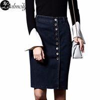 Wholesale Womens Plus Denim Skirt - Wholesale- New Arrival Denim Skirts Womens Plus Size Pencil Jeans Buttoned Front 6XL Sexy Knee Length Skirt 2232