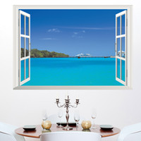 Wholesale wall decal sea - 3D DIY Decal Hawaii Sea View Beach Window Wall Stickers Adhesive Wallpaper for Background in Bedroom Living Room Home Decor