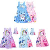 Wholesale Puffs Clothing - 5Styles Cute Unicorn Dresses Girls Dresses Sleeveless Baby Girl Party Dresses Fashion 2018 Kids Girls Clothing Girls Dress Princess Dress