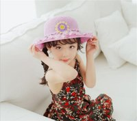 Wholesale Lace Snapback - snapback hats Kids Girls Baby Lace Node Brim Summer Beach Sun Straw Hat Cap Princess basin caps Children Sun caps