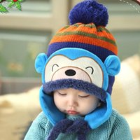 Wholesale winter monkey cap resale online - Baby Winter Warm Cap Hat Cartoon Monkey Striped Ball Ear Caps Infant Newborn Photography Props Unisex Accessories