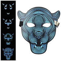 voz de máscara al por mayor-Máscara Decoraciones de Halloween, control de voz Cosplay resplandeciente lED Máscaras Creepy Scary