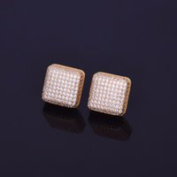 Wholesale push jewelry - 12x12mm Mens Zircon Earring Hip hop style Copper Material Iced Out Bling CZ Square Stud Earrings Push-back Fashion Jewelry