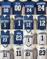 Mens Kentucky Wildcats 11 John Wall 23 Anthony Davis 12 Karl-Anthony Towns  15 DeMarcus Cousins College Blue White Stitched Basketball Jersey 0dd3c2ef3