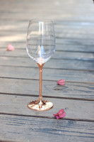 Wholesale Crystal Stems - 2016 new design hot sale lead free clear 412ml crystal red wine glasses set with rose gold stem