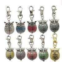 сова смотреть женщина оптовых-Старинные Сова Fob карманные часы ожерелье там цепи висит карманные кварцевые часы дети женщины мужчины подарок 10 цветов AAA113