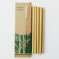 canudos de plástico azul venda por atacado-Canudos De Bambu Conjuntos Reutilizáveis Eco Friendly Handcrafted Canudos De Bambu Natural e Escova De Limpeza Frete Grátis QW8868