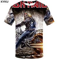 ingrosso vestiti di musica rock-All'ingrosso-KYKU Marca banda camicia uomini della maglietta musica Tshirt Skull maglietta gotica delle parti superiori dei vestiti della roccia vestiti moto Punk