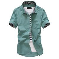 Wholesale wild flowers - Men's short-sleeved business casual collar flower shirt Korean Slim wild handsome shirt business casual trend youth solid color printing shi