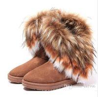 uzun rahat ayakkabılar toptan satış-Fabrika doğrudan Moda Tilki Kürk Sıcak Sonbahar Kış Takozlar Kar Kadın Çizmeler ayakkabı GenuineI Mitation Lady Kısa Çizmeler Rahat Uzun Kar Ayakkabı si