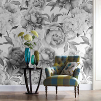 Wholesale Black White 3d Wallpaper - Wholesale-Grey black and white floral custom 3D wall paper mural on the wall wholesale for office living room meeting room