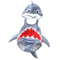 Wholesale Fashion one piece girls swimwear lovely infant boys swimming clothing shark shape baby summer bathing suit with swimming cap