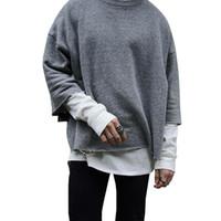 полуколенки оптовых-Повседневный пуловер Solid Color Половина рукава Толстовка Winter High Street Vintage пуловер Бесплатная доставка