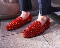 Wholesale Man Spike Street Shoe - New Men Brand Shinny Glitter Flats Shoes Red Black Gold Sparkle Spiked Studded Shoes Slip on Loafers Rivets Men Street Casual Lazy Shoes