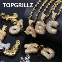 micro pave zircon al por mayor-TOPGRILLZ A-Z Custom Bubble Letters Colgante para Hombres n Mujeres Micro Pave Cubic Zircon DIY Hip Hop Collar Con Cadena De Cuerda