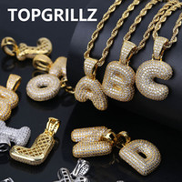 14 k zincir toptan satış-TOPGRILLZ A-Z Özel Kabarcık Mektuplar Kolye Erkekler n Kadınlar için Mikro Açacağı Kübik Zirkon DIY Hip Hop Kolye Ile Halat Zincir