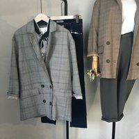 Wholesale Women Working Suits Design - 2017 New Spring Fashion Plaid Blazer Casual Suit Women Blazer Slim Double Breasted Work Design Coat jackets WT0231