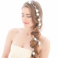 tiara metall blumen großhandel-Frauen Silber Metall Blume Perlen Hochzeit Tiara Kopfschmuck Haar Rebe Lange Braut Stirnbänder Hochzeit Kopf Kette Zubehör