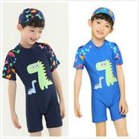 Wholesale boys swim hat - Boy Summer One piece Swimsuit Baby Boy Clothes Polyester Dinosaur Printed Short Sleeve Swimwear with Swim Hat Kids Summer Swim Clothes M109