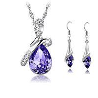 Wholesale tear purple necklace resale online - Crystal Diamond Crystal Angel Tears Necklace Earrings Sets Alloy Chain Necklace for Women Fashion Wedding Jewelry Sets Gift Drop pendants