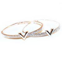 bijoux design venda por atacado-Toda vendaWonlife Carta de Luxo V Pulseiras de Cristal Pulseira Feminina Famoso Projeto Strass Braço Cuff Pulseiras Mulheres Bijoux Jóias Presente