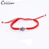 Wholesale braided red string bracelet for sale - 1PC Fashion Red String Hamsa Hand Lucky Evil Eye Bracelet Braided Rope Boho Festival Chic Bracelet For Women Girls Charm Hand Jewelry